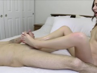 Sexy Feet Covered In Precum - First Time Footjob