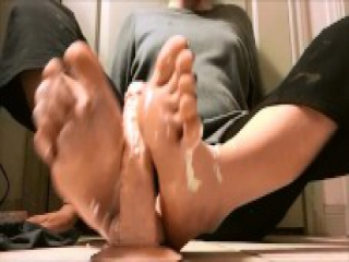 Sexy Dildo Footjob with Lots of Lotion - Pretty Teen Feet - Toejob