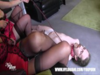 Femdom Milfs give silky white panties wearing sissy in chasity their sexy nylon stockings feet high heels to worship